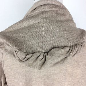 Miilla Clothing Sweaters - Miilla Taupe Tie Front Hooded Cardigan Size S